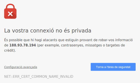 Captura d'avís de google chrome